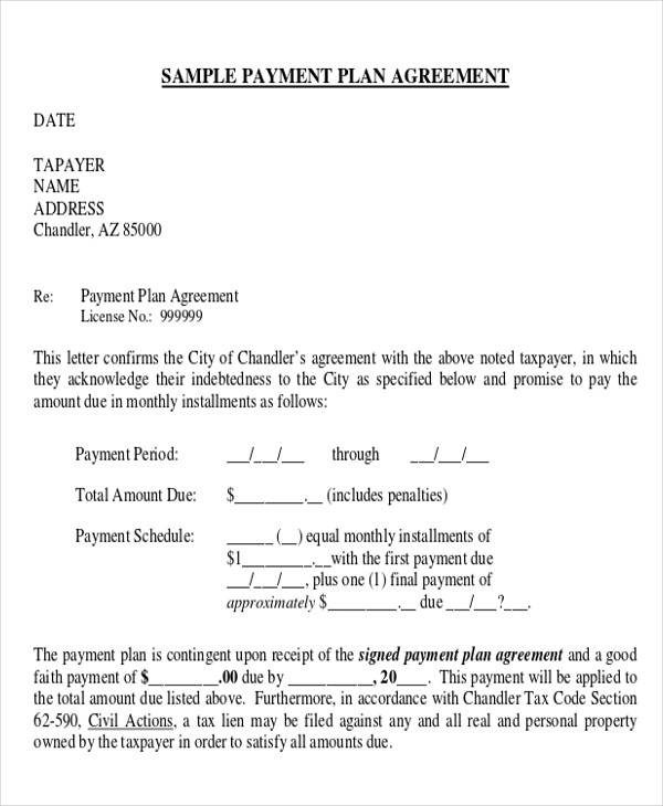 Payment Plan Agreement Agreement Of Payment Agreement Of Payment