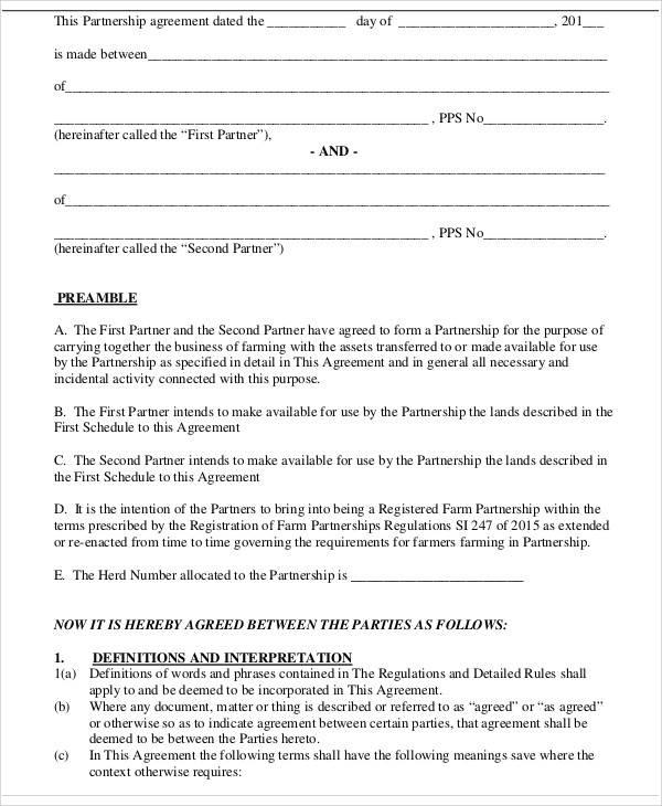 business plan partnership agreement form