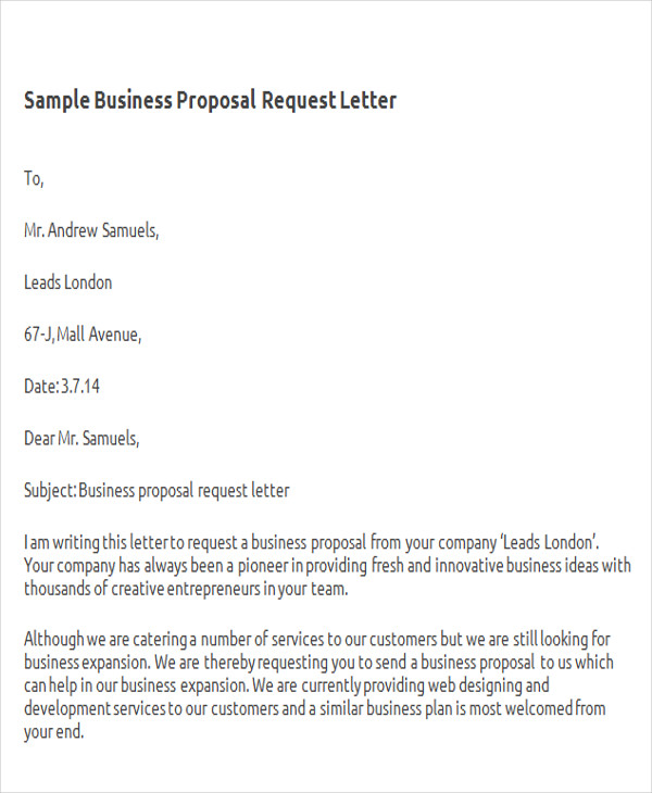 business proposal letter 35 letter format samples word pdf 13306 | Business Proposal Request Letter