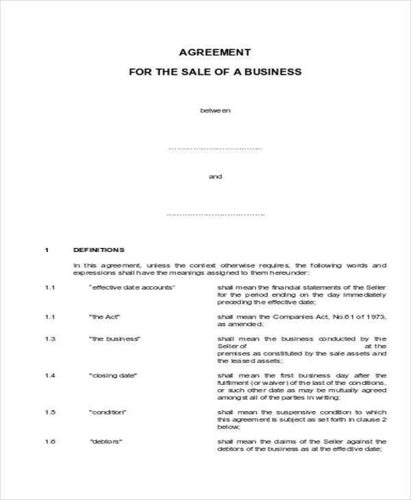 business purchase and sale agreement form