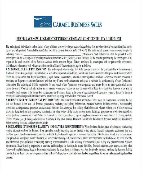 business sale confidentiality agreement1