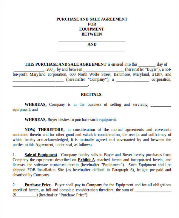 business sale contract agreement form