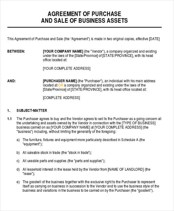 business sale and purchase agreement form