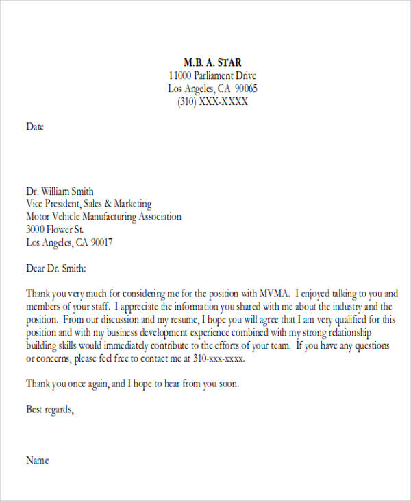 business school interview thank you letter