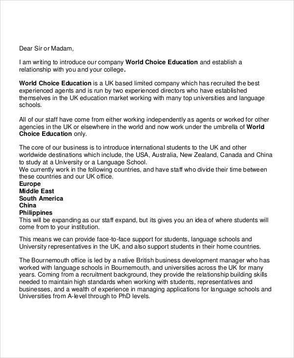 business school introduction letter