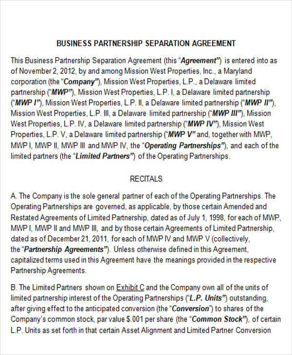 Business Separation Agreement Noncompete Agreement Template