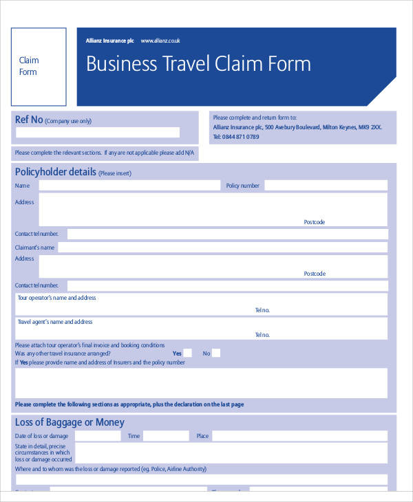 business travel claim form