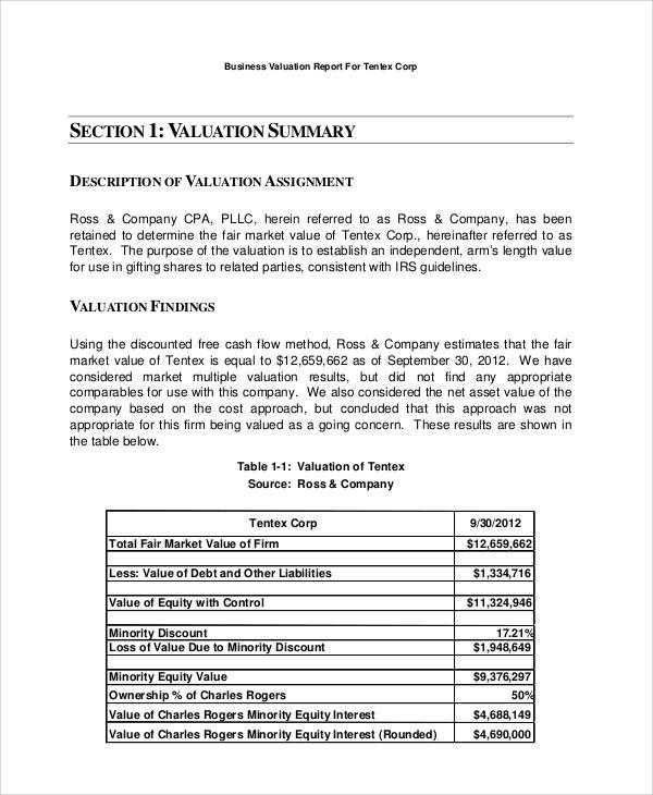 Sample Business Valuation Report  Examples In Word Pdf