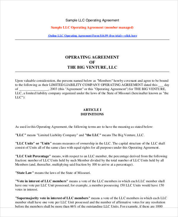 sample of llc operating agreement