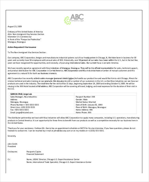 business visitor visa invitation letter