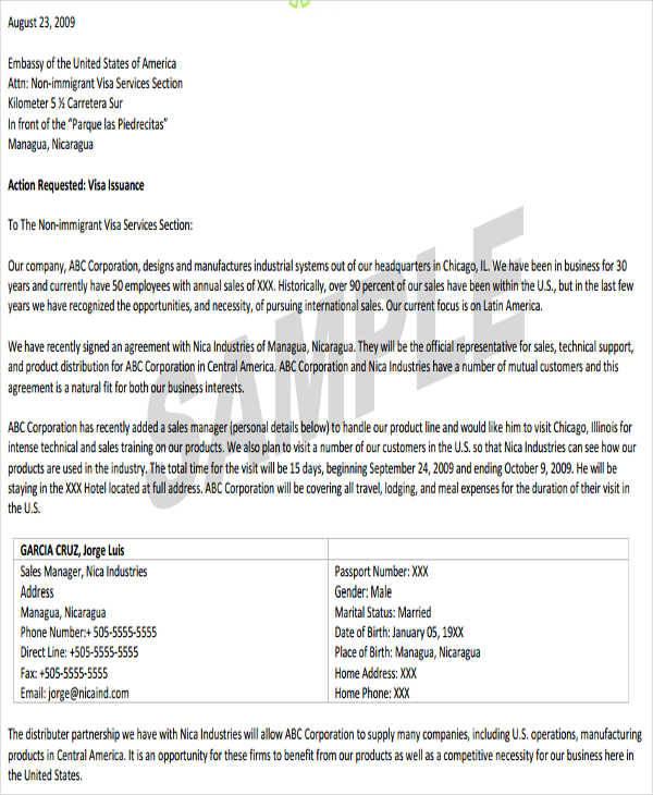 business visitor visa invitation