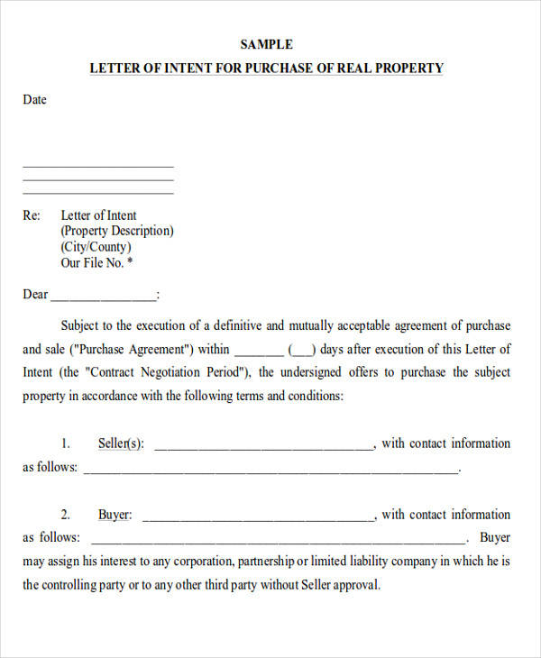 buyer letter of intent