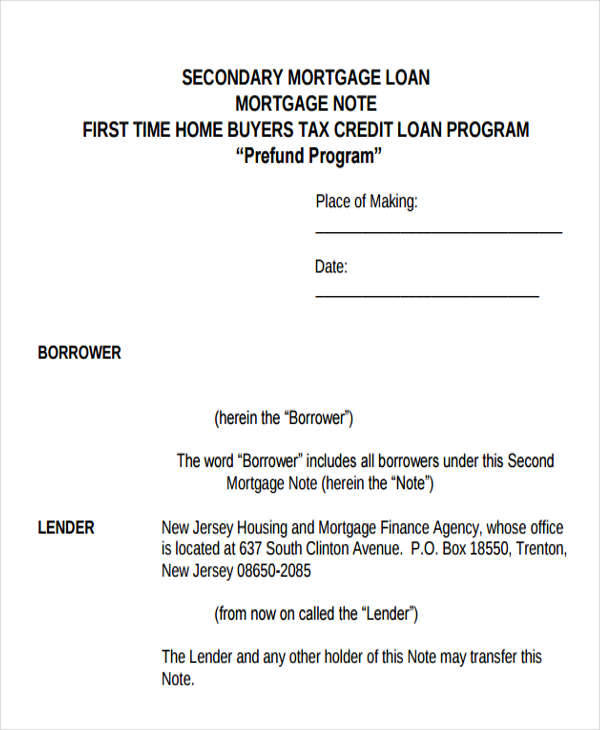 buyers mortgage note example1