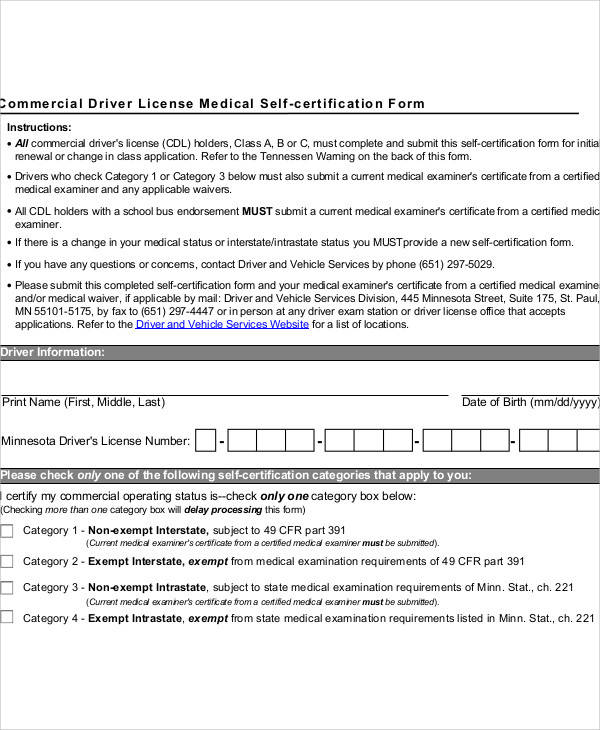 cdl medical certification form