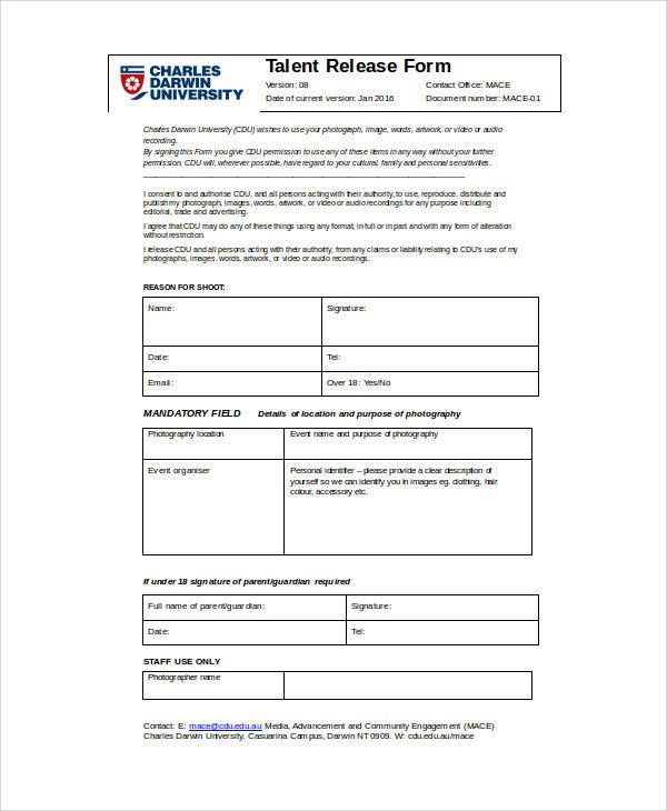 cdu talent release form