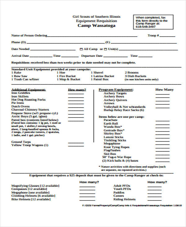 camp equipment requisition form