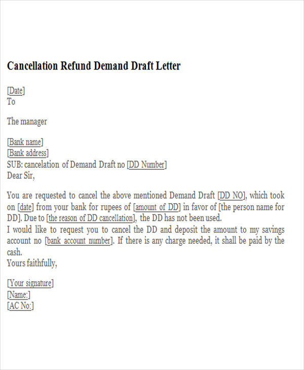 cancellation refund demand draft letter