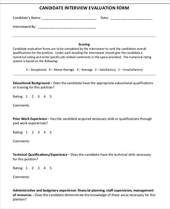 Interview Evaluation Form For Managers  Hlwhy