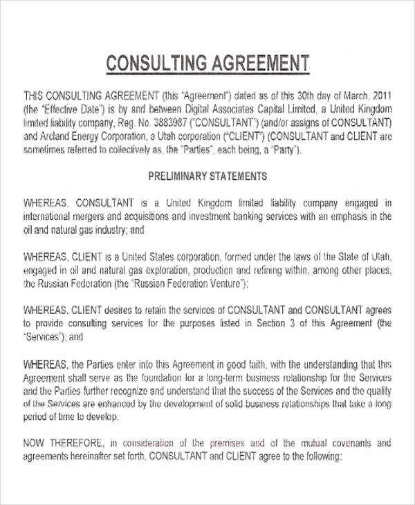 capital business consulting agreement
