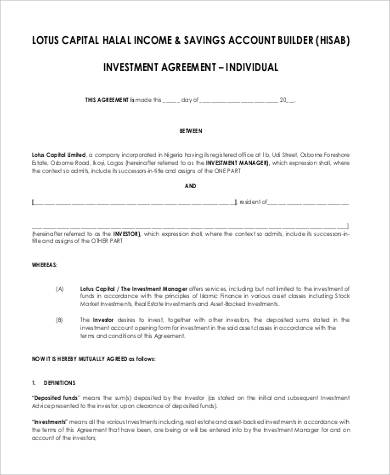 capital investment agreement
