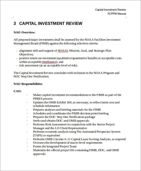 capital investment review form