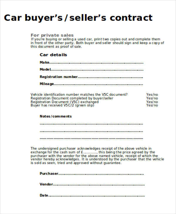 Sample Car Sales Contract 12 Examples In Word PDF