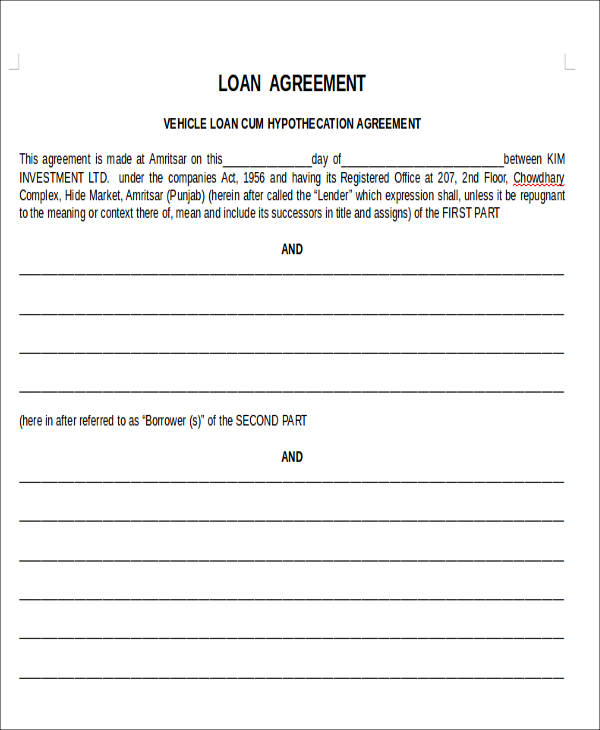Agreement Forms In Doc