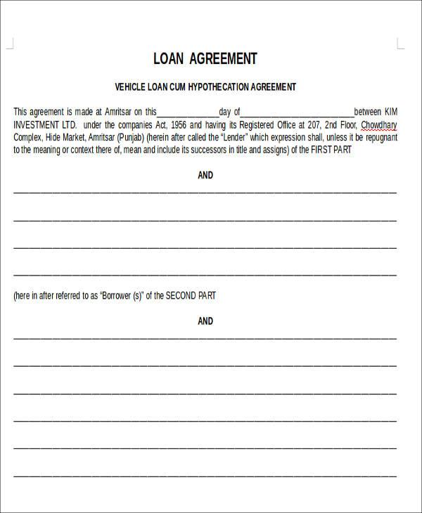 car loan agreement form3