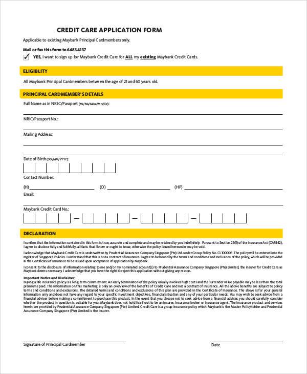 care credit application form