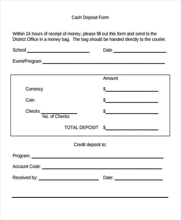 cash deposit receipt form