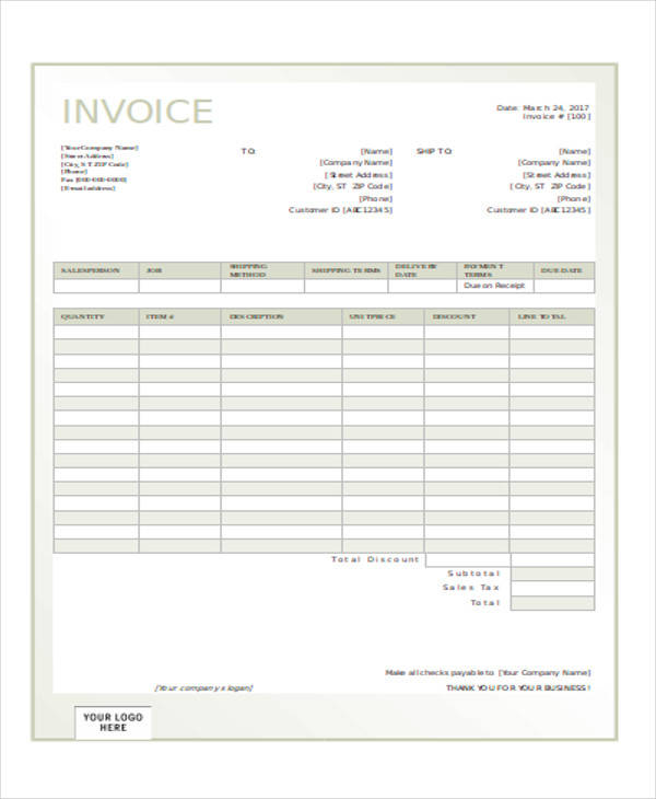 cash invoice receipt form