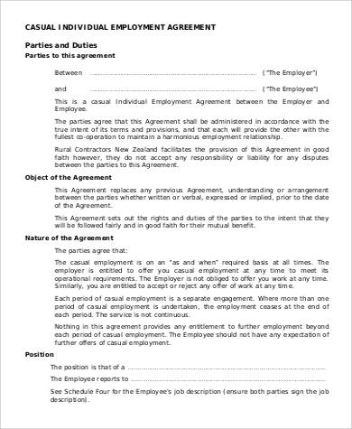 Casual Individual Employment Agreement Great Pictures