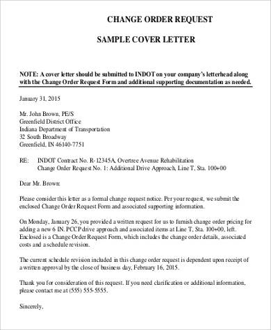 Request letters format change order request cover letter spiritdancerdesigns Choice Image