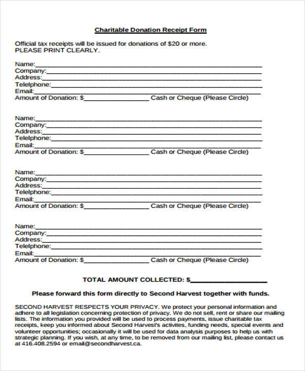charitable donation receipt form1