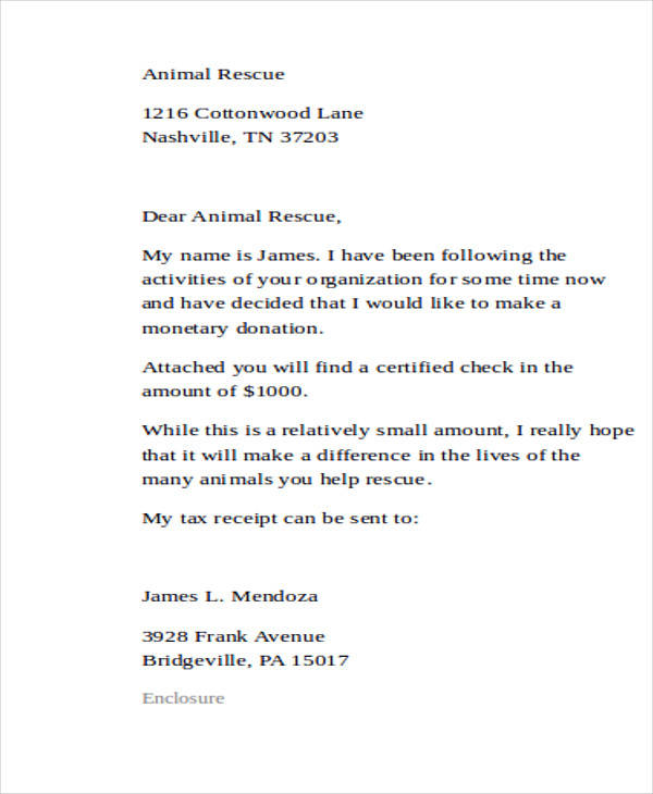 Sample Donation Letter