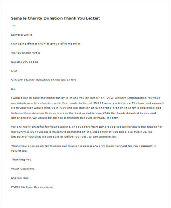 Sample Letter Of Donation To Charity
