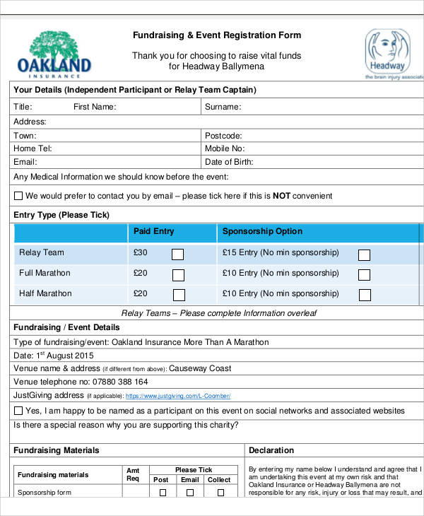 charity event registration form