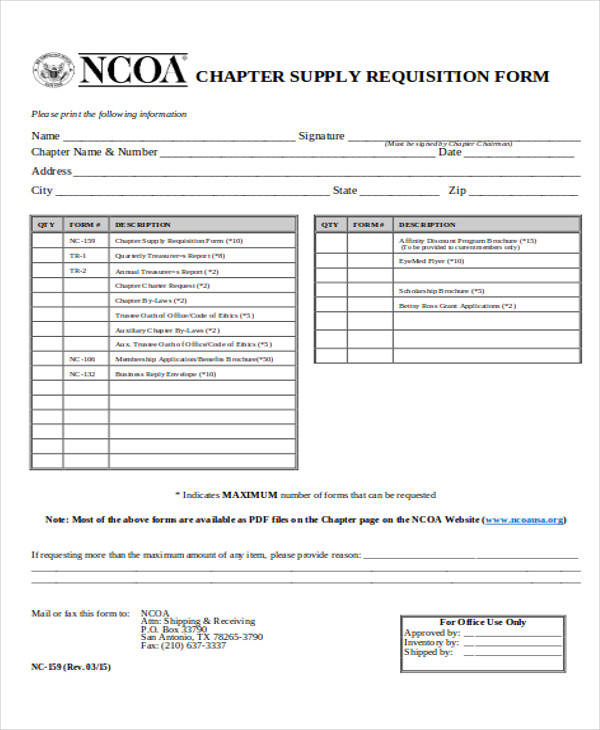 charter supply requisition form