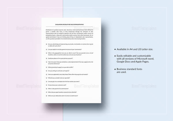 checklist sales representative evaluation template