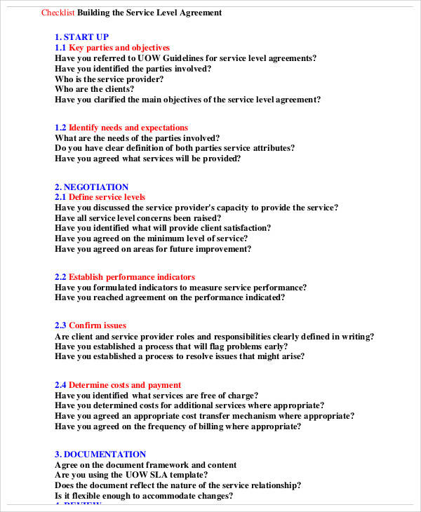 checklist service level agreement