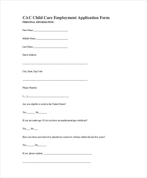 child care employment application form