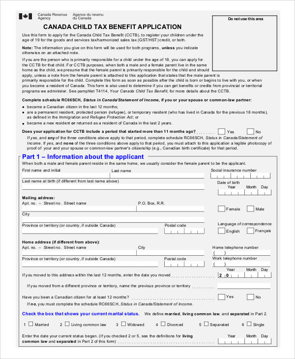 Printable Application Forms – Child Benefit Form