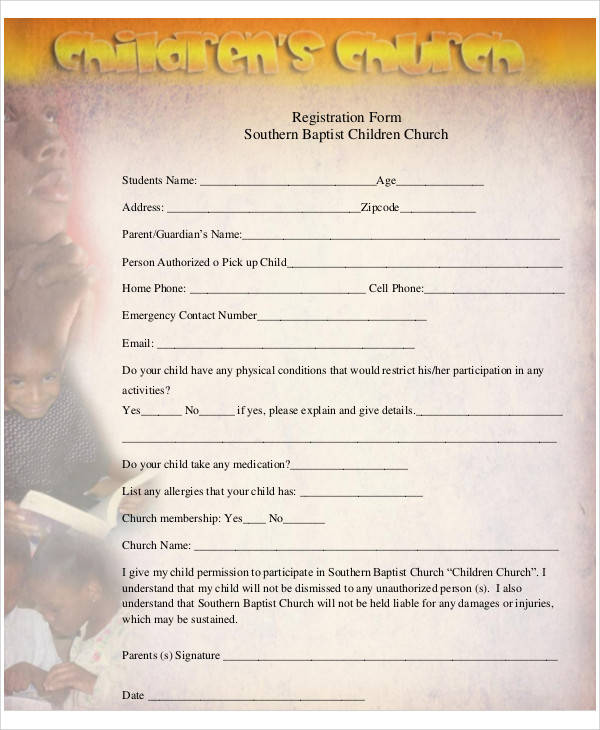 children church registration form
