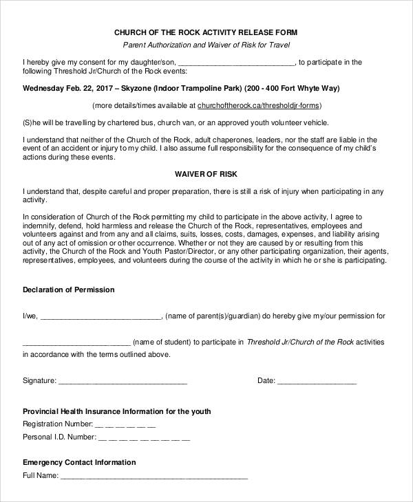 church activity release form