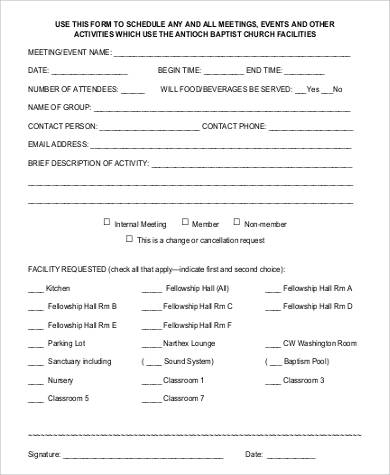 church event reservation form