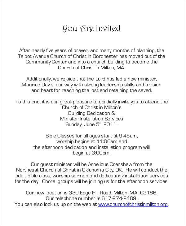 34 sample invitation letter church inauguration invitation letter stopboris Choice Image