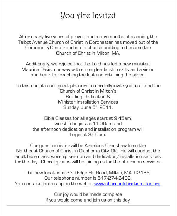 Examples of invitation letters church inauguration invitation letter stopboris Choice Image