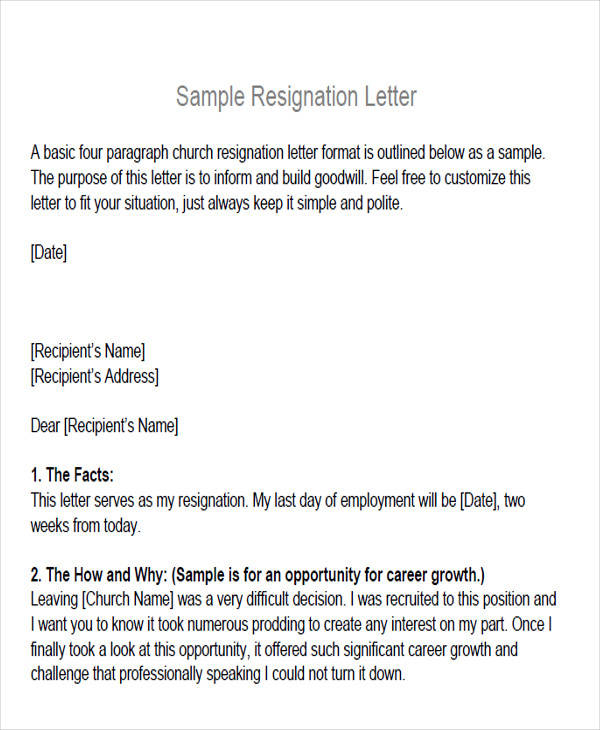 Sample membership resignation letter 5 examples in pdf word church membership resignation letter altavistaventures Images
