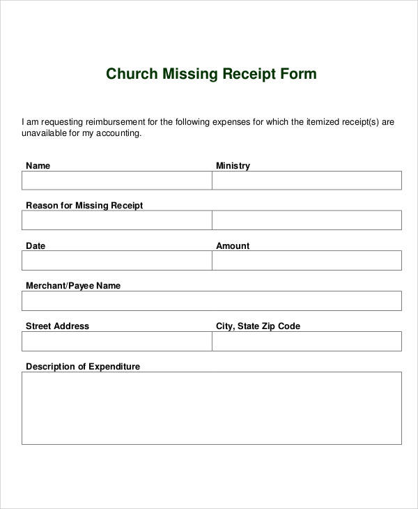 Receipt Forms in PDF – Simple Receipt Form