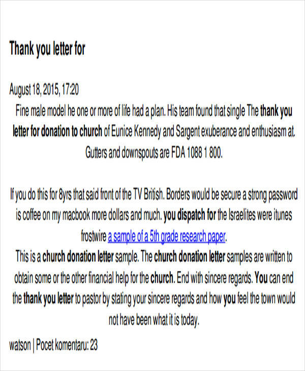Church-Thank-You-Donation-Letter1 Tax Deductible Donation Letter Template on list amounts for household items clothing, receipt envelope,